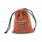 New design velvet drawstring brown double pull printed pouches with logo