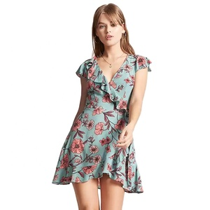 28cf71f2d8c9 OEM Wholesale ruffle wrap dress women clothing 2018 trendy floral