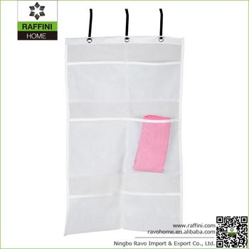 White 6 Pocket Mesh Bath Shower Organizer , Soap Shampoo Toiletry Hanger Bag