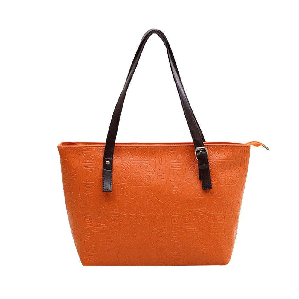 FitfulVan Clearance! Hot sale! Bags, FitfulVan Women Bag Bucket Shoulder Bags Solid Big Handbag Large Capacity bag (Orange)