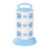 Intelligent 3 Layers Multiple Electrical Plug Vertical Socket With Surge Protector