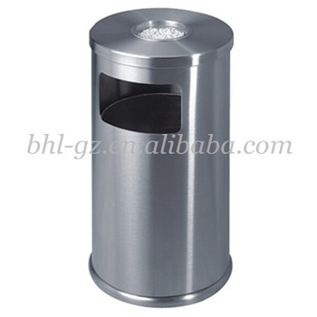 wholesale hospitality supplies hotel lobby products stainless steel round industrial trash can recycling bins garbage bin - Industrial Trash Cans