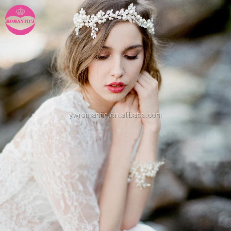 Elegant bulk wedding pearl headband bridal hair accessories for women фото