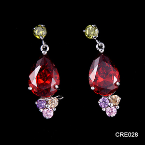 Duoying Small Lot 24 Pairs Colored AAA CZ Inlay Jewelry Ethnic ruby Earring Wholesale