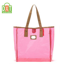 Custom printed cheap waterproof women beach pvc clear plastic tote bags