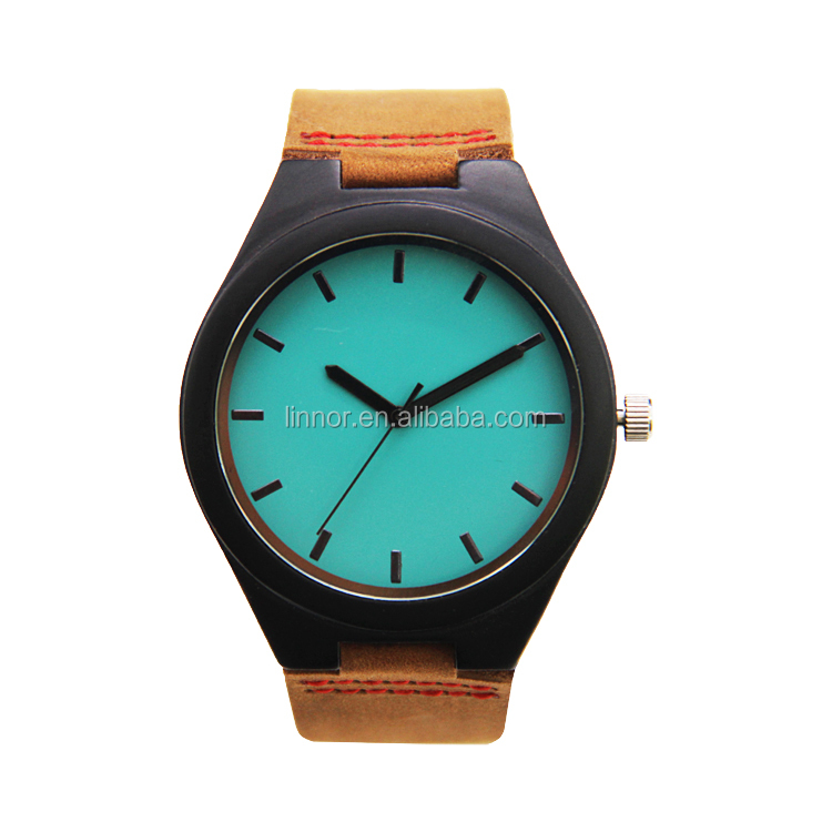 Popular Design Cow Boy Style Wooden Watch Blue Face Case Brown Leather Band Automatic Men Watch