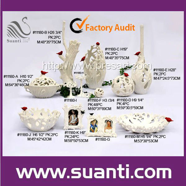 Luxury Branch Shape White Resin Home Decoration Set