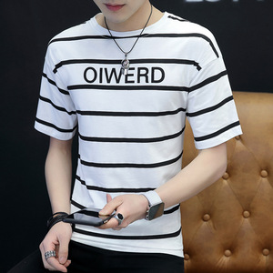 summer korean style short sleeve pure cotton men T-shirt 2018 slim 0-neck print hot sale men garments