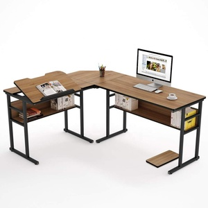 "Modern L-Shaped Desk with Bookshelf, 63"" Double Corner Computer Office Desk Workstation Drafting Drawing Table"