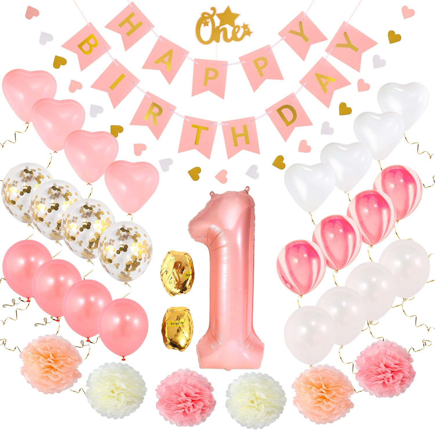 Get Quotations First Birthday Decorations Set For Girl