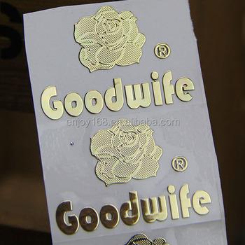 Metal embossed sticker gold logo stickers custom gold plate logo