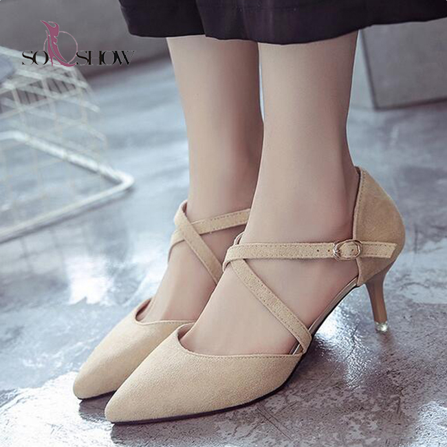 Red Bottom Ankle Strap Thin High Heel