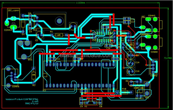 Green Solder Mask Drawing Schematic Pcb Layout Circuit Board Design ...