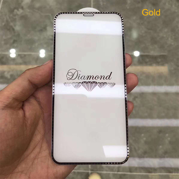 Suitable for iPhone x xs max xr electroplating diamond tempered film XR full-screen flash drill top three diamond film