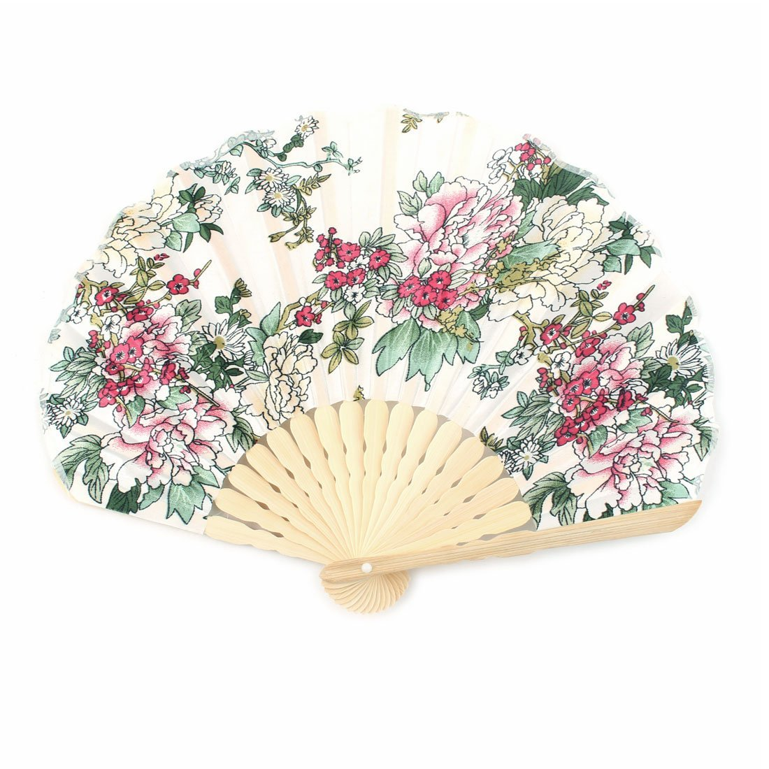 uxcell Bloom Printed Ladies Summer Hand-held Folding Dancing Hand Fan Craft Colorful