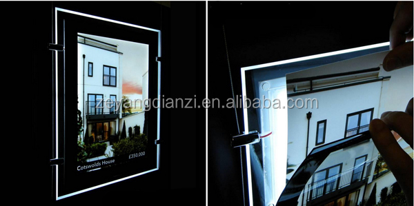 New Christmas A4 A3 Hanging Acrylic Real Estate Agency Illuminated Poster Frame Light Pocket Window Led Sign Display
