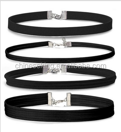 Multilayer suede leather short choker necklaces with lobster clasp black velvet collar necklace velvet neclaces jewelry 2017