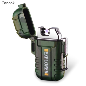 Portable Outdoor USB Double Arcs Electronic Waterproof And Windproof Lighter With Safety Button For Birthday Gift