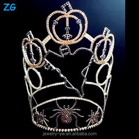 Wholesale High Quality Crystal Spider Ghost Pumpkins Pageant Crown For Halloween