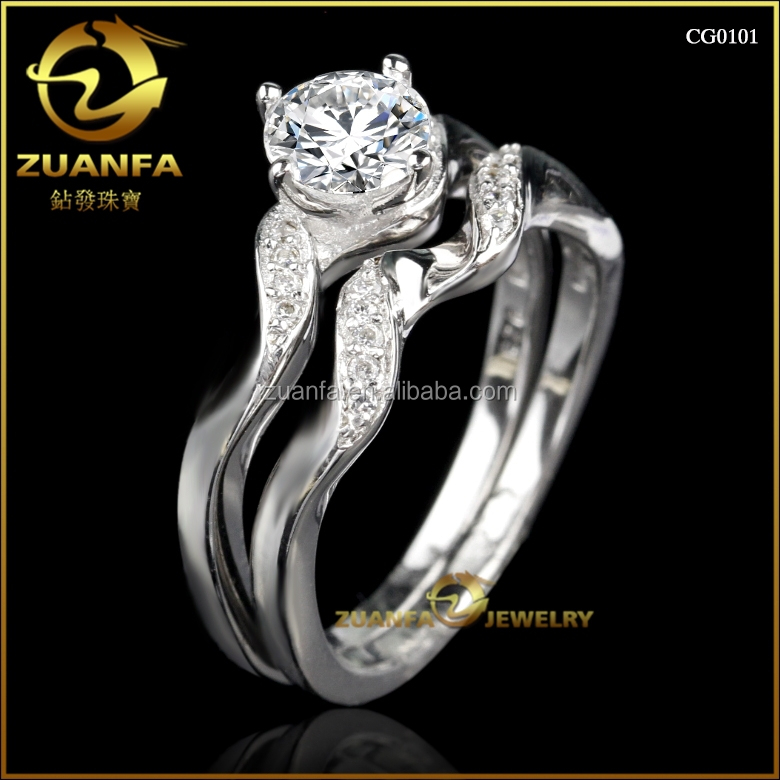 good quality classical wedding band jewelry gemstone rhodium plated brass ring set