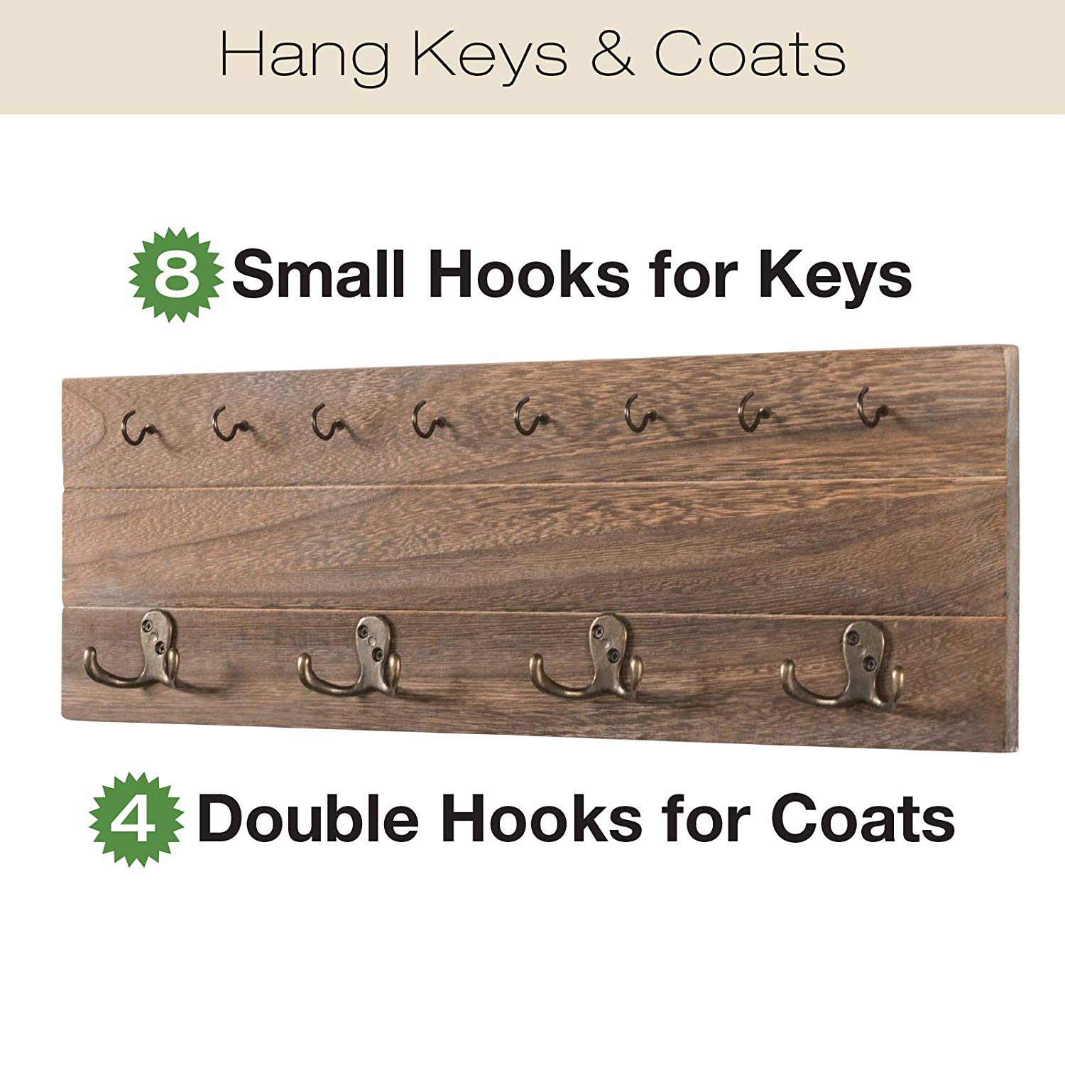 Wall Mounted Hanging with hooks, Coat rack, hat organizer, key holder for Entryway, Mudroom and more