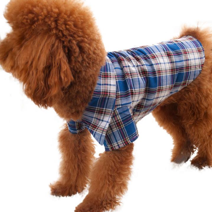 Удивительные компактный домашнее животное собака щенок одежда одежда шотландка T рубашка размер S M L XL