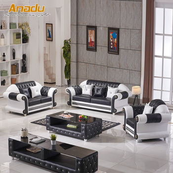 Arabic Clical Living Room Lantai Group Leather Sofa