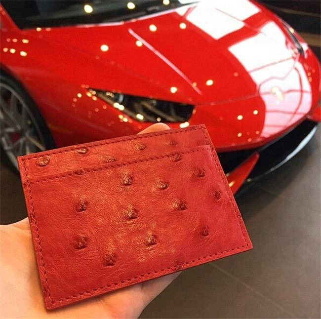 Wholesale 100% ostrich leather business card case custom credit card holder
