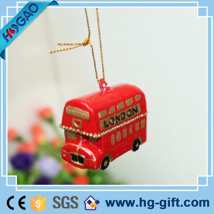 Polyresin Christmas Elk Decoration Holiday Hanging Item London Buses