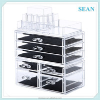 Acrylic Cosmetic/makeup Organizer Jewelry Display Boxes Bathroom Storage Case 3 Pieces Set W/ 7 Drawers