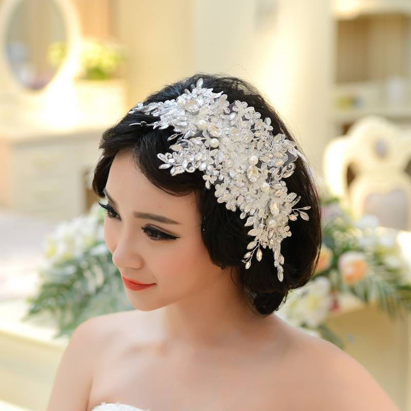 Wedding Hairstyles With Hair Jewelry: Handmade Lace Wedding Tiara Rhinestone Pearl Bridal Hair