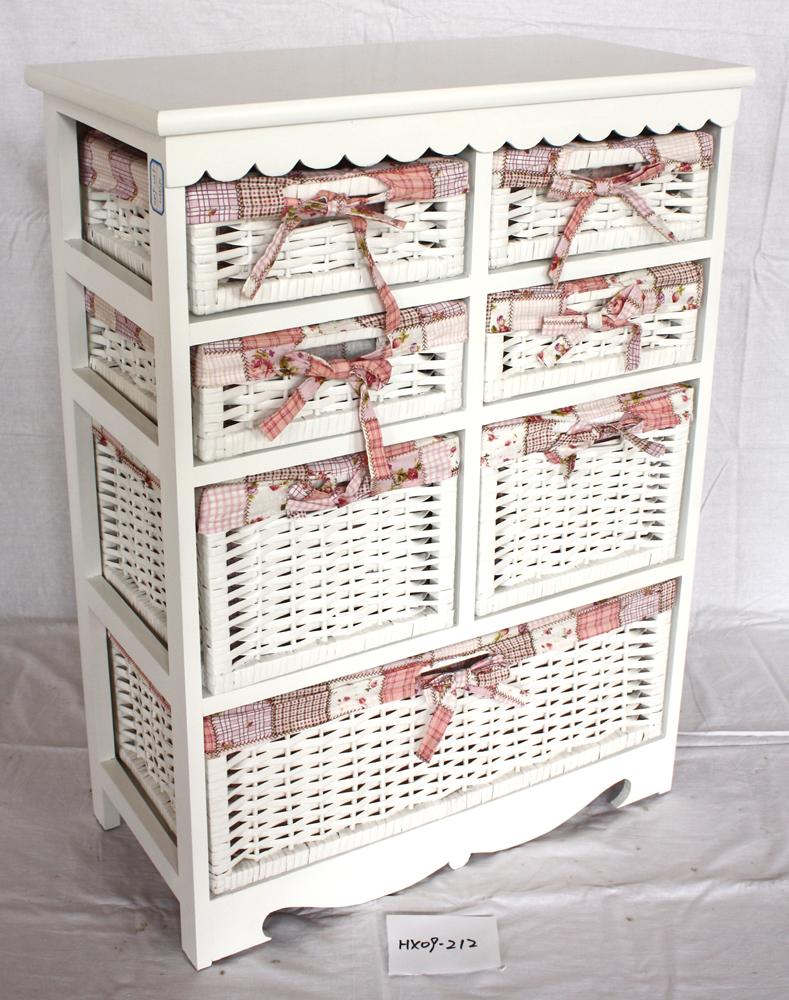 Cajones de madera de mimbre blanco muebles shabby chic de for Gabinete de almacenamiento de bano de madera