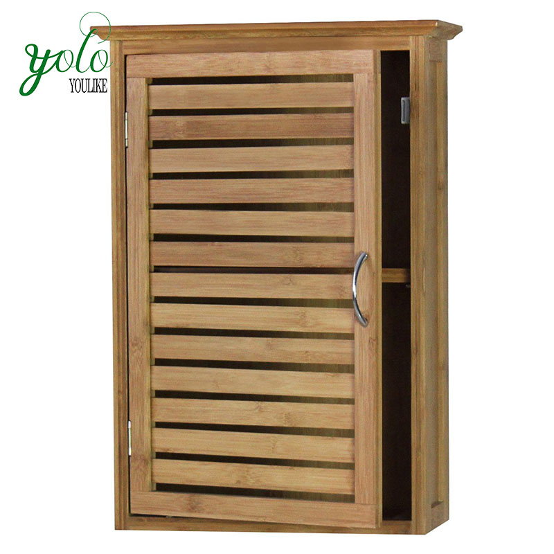 Wall mount bathroom wood Bamboo storage hanging Cabinet With single door
