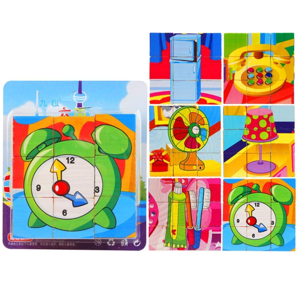 Gbell 6 Sides Animal Blocks Wooden Puzzle Set - Colorful Rabbit Crocodile Zebra Monkey Jigsaw Board Educational Toy Gift for 1-6Year Old Toddlers Baby Girls Boys Kids,15×13×3.5CM
