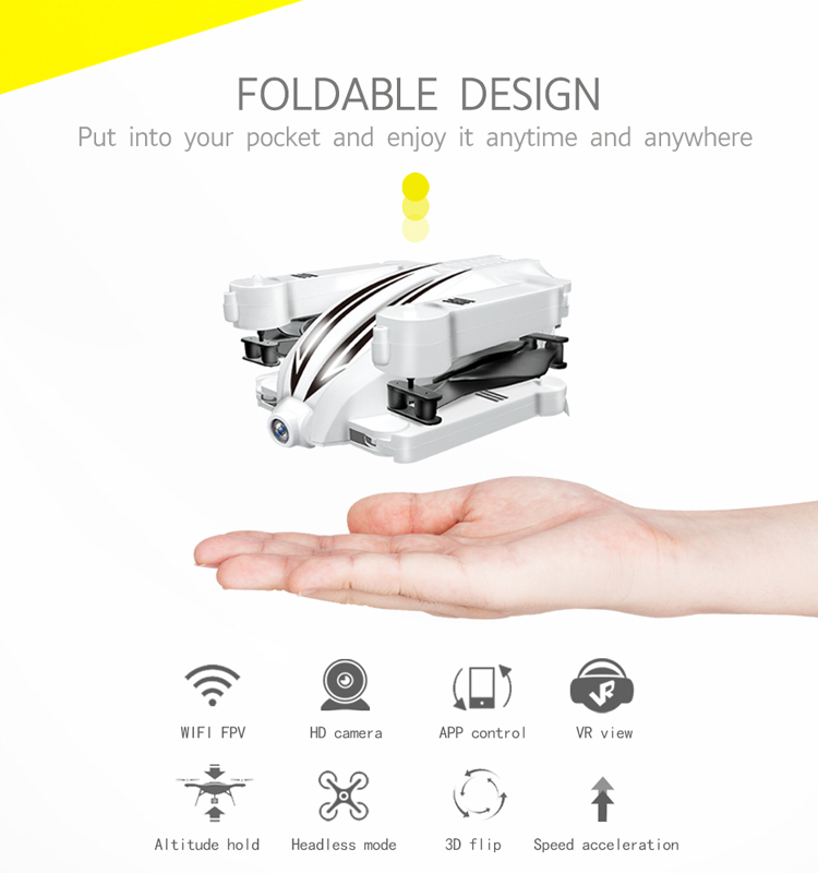 2. T13_White_Foldable_Mini_Selfie_Drone_with_720P_Wide_Angle_HD_Camera