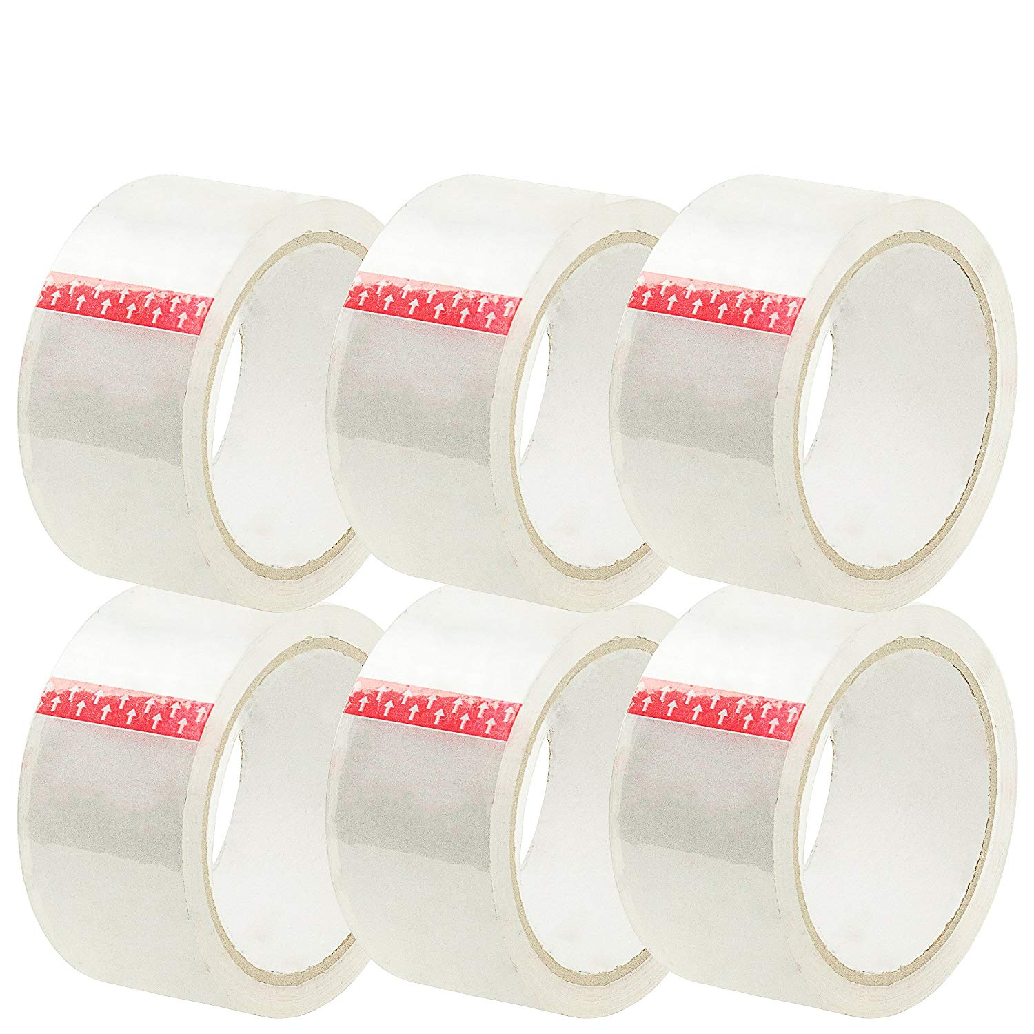 SteadMax 6 Pack Crystal Clear Packing Tape, 6 Rolls X 50 Yard, 2 inch Heavy Duty Packaging Tape, Sealing Adhesive Tape Dispenser Gun Refill Rolls for Shipping and Moving Boxes (Total of 300 Yards)
