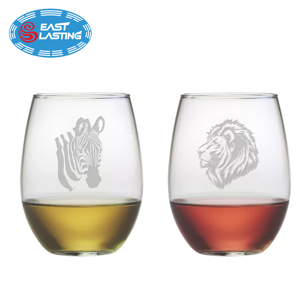 Animalia custom sandblasted etched stemless wine glass set with no stem