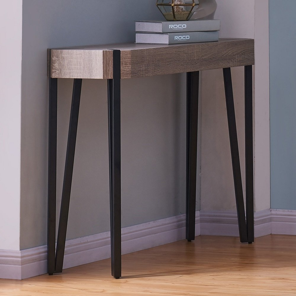 """Brown Reclaimed Wood and Cast Iron Console Table, Entryway, Living Room, Bedroom Accent Table, Oak Paper Veneer on Wood Table Top, 31.5"""" H x 13.75"""" W x 39.5"""" L + Free Ebook"""