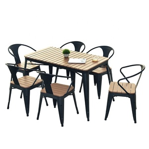 Combination outdoor cafe courtyard terrace leisure table and chairs Plastic wood outdoor table and chairs