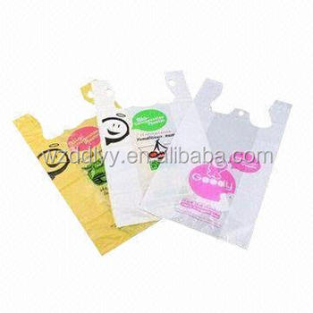 Hdpe packaging cheaper custom printed 50micron plastic t for Personalized t shirt bags