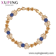 74979 Xuping online gold jewellery shopping luxury Synthetic CZ charm bracelet for women
