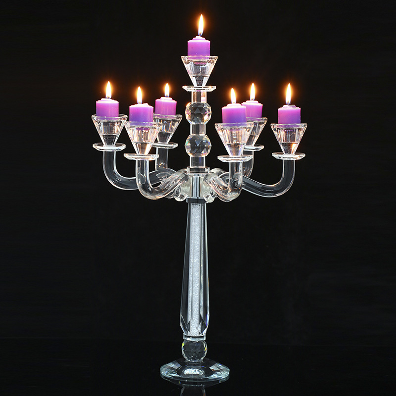 Crystal candle holder 5 arms tall cheap wedding candelabra glass table /Wedding Table Center 5-arm Glass Candlestick