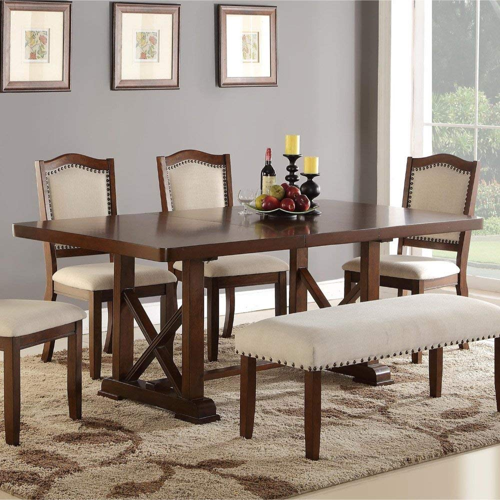 Benzara BM171312 Rectangular Wooden Dining Table, Brown