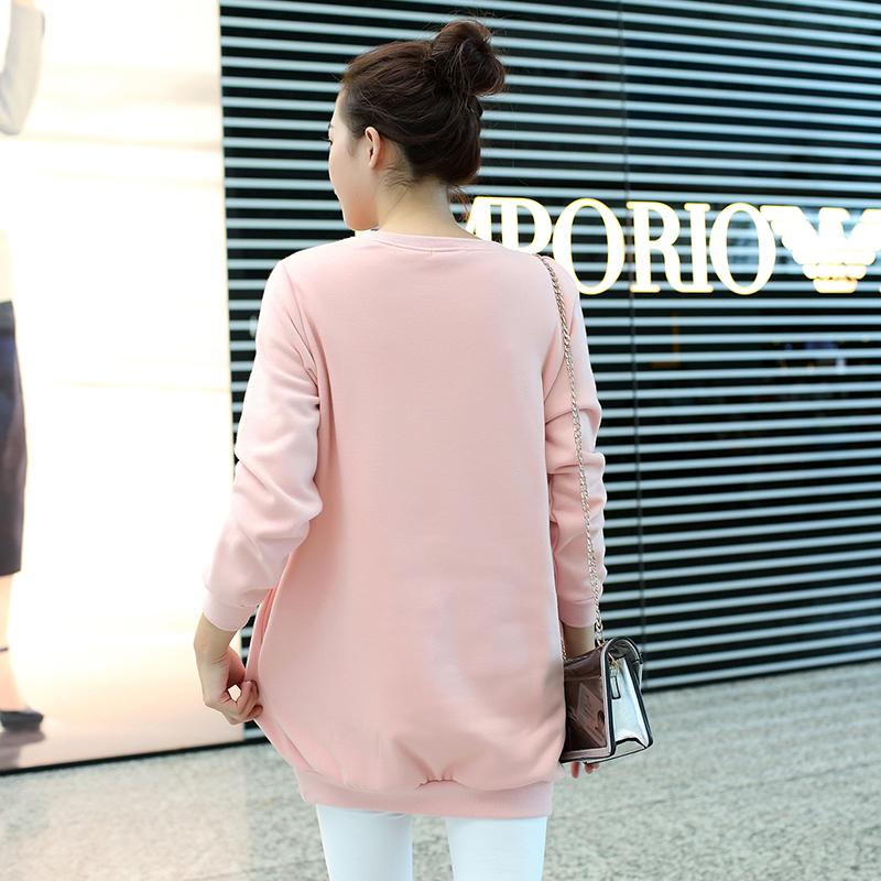 1018 # весна осень беременным толстовки с длинным рукавом широкий платья для беременных женщин беременных одежды для беременных верхней одежды