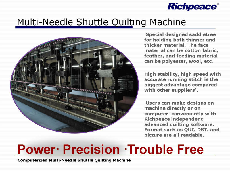 Richpeace Computerized Multi Needle Shuttle Quilting Machine