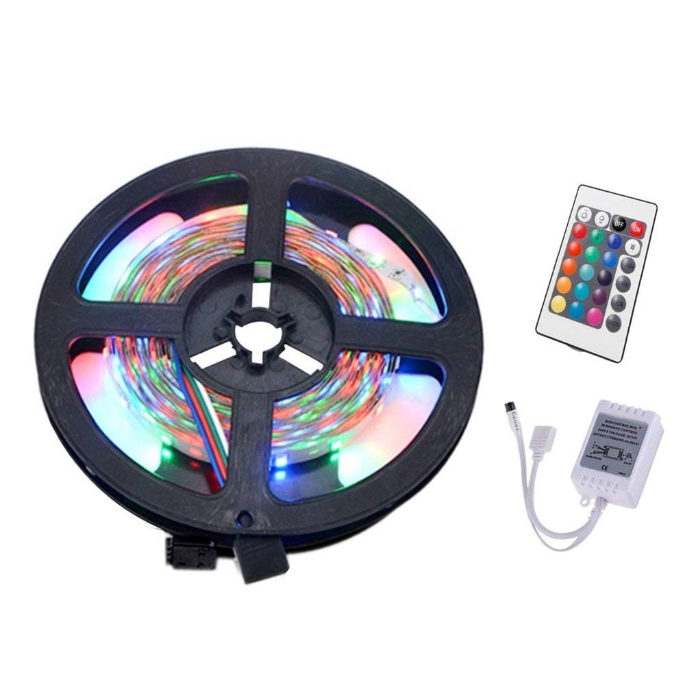 WELSUN Flexible Changing Multi-Color Lighting Strips for TV 5M 36W 300 LED 3528 SMD Non-Waterproof RGB Controlers 24Key Remote Control(DC 12V)