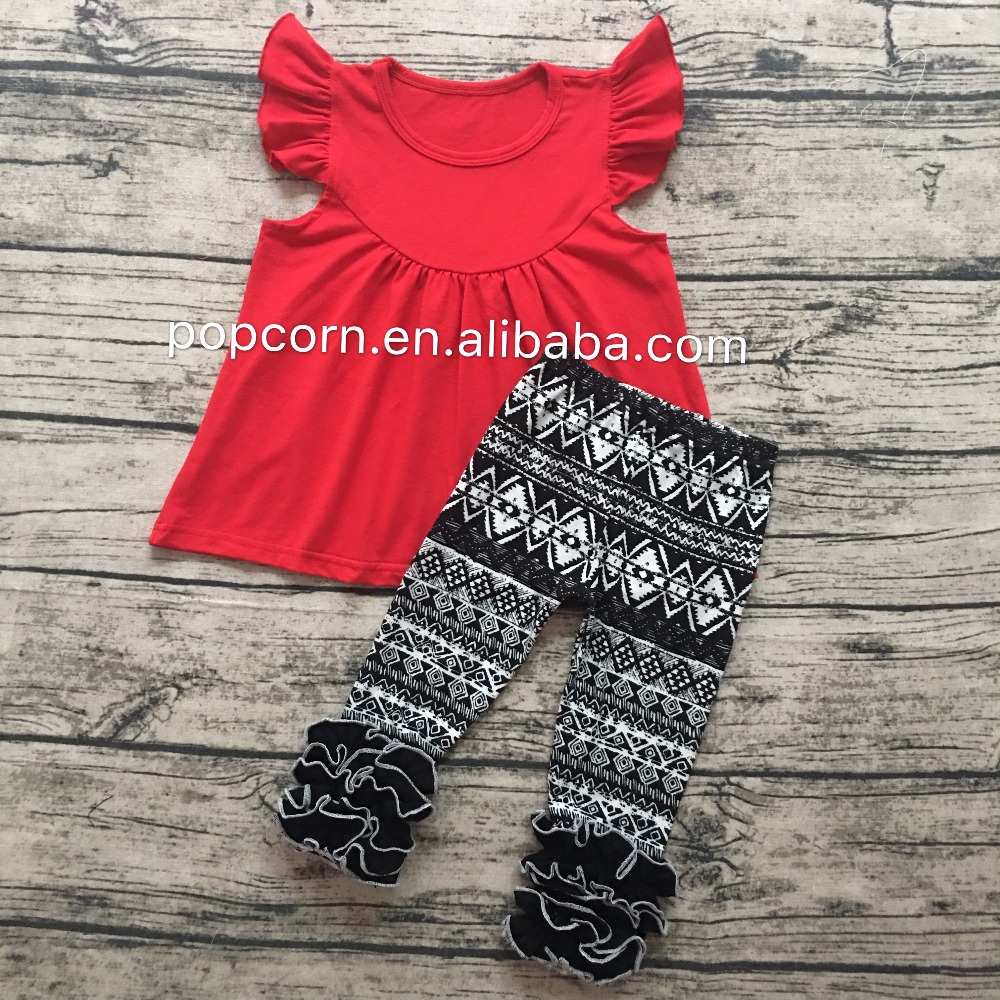 Most popular children flutter sleeves tops fall outfit kids ruffle legging pant outfits baby clothing set wholesale