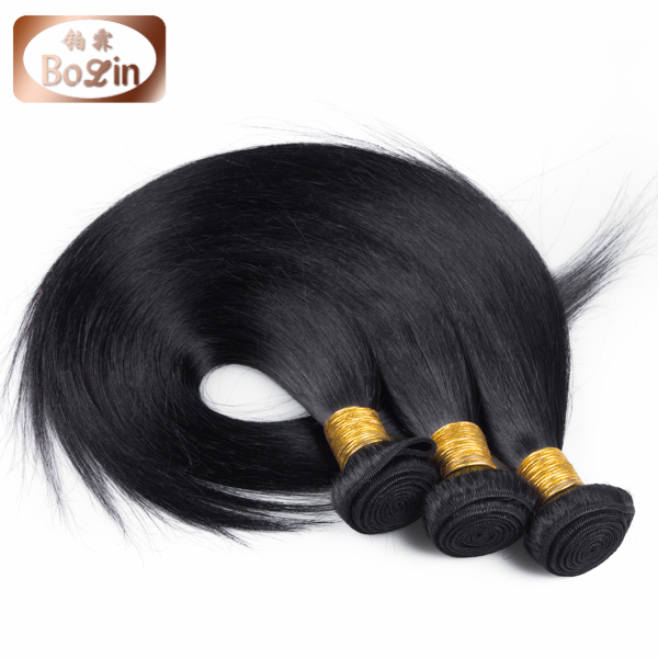 Alibaba hot selling virgin brazilian straight hair silk straight hair extesnion with free hair weave packaging