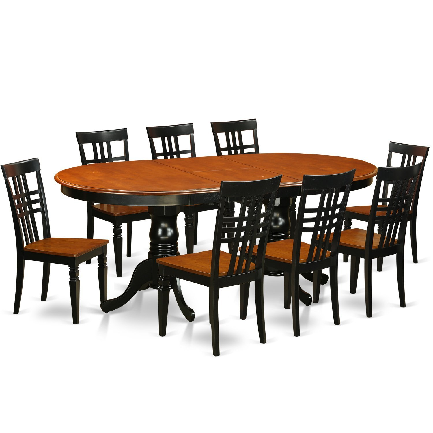 East West Furniture PVLG9 BCH W 9Piece Table U0026 Chair Set With One  Plainville Table U0026 8 Dining Chairs In Black U0026 Cherry Finish. 1111.11. 7  Piece ...