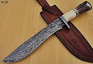 REG M-20 Handmade Damascus Steel 15.2 Inches Hunting Bowie Knife (Fire Storm) - Stag Horn Handle with Damascus Steel Guards